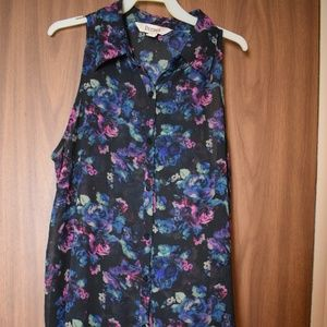 Decree Sheer Collared Purple Floral Tank Top M